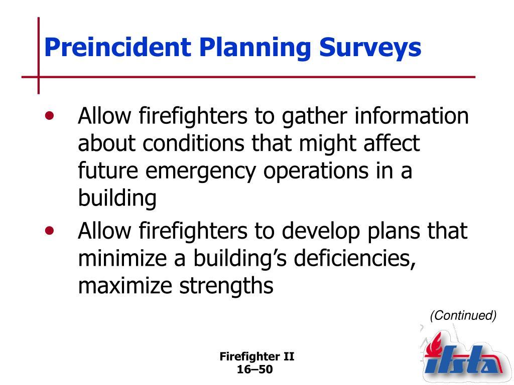 Preincident Planning Surveys
