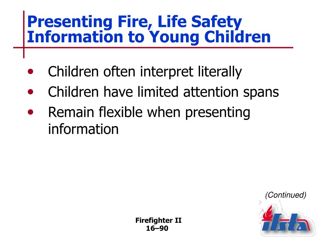Presenting Fire, Life Safety Information to Young Children