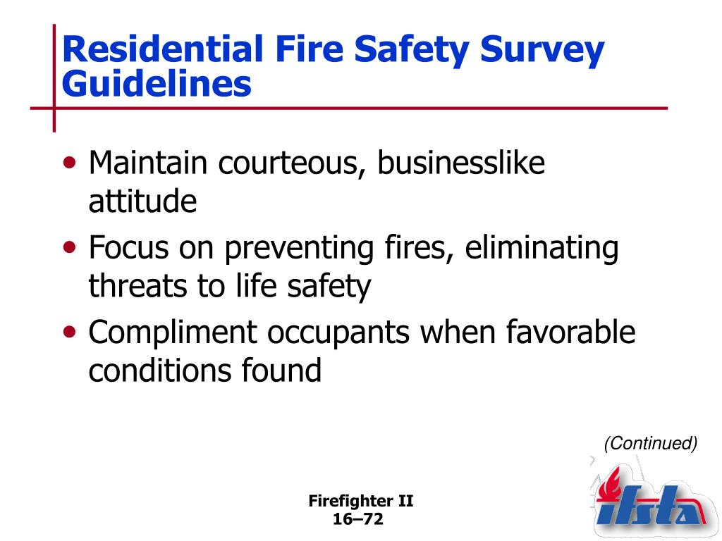 Residential Fire Safety Survey Guidelines