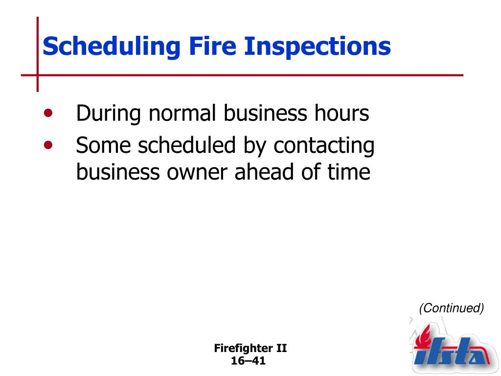 Scheduling Fire Inspections