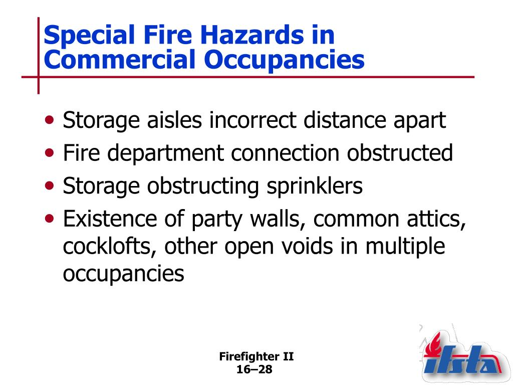 Special Fire Hazards in Commercial Occupancies