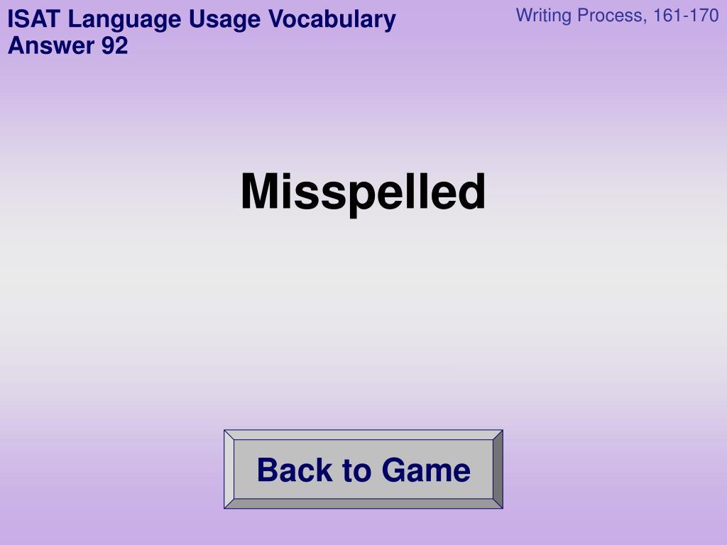 ISAT Language Usage Vocabulary