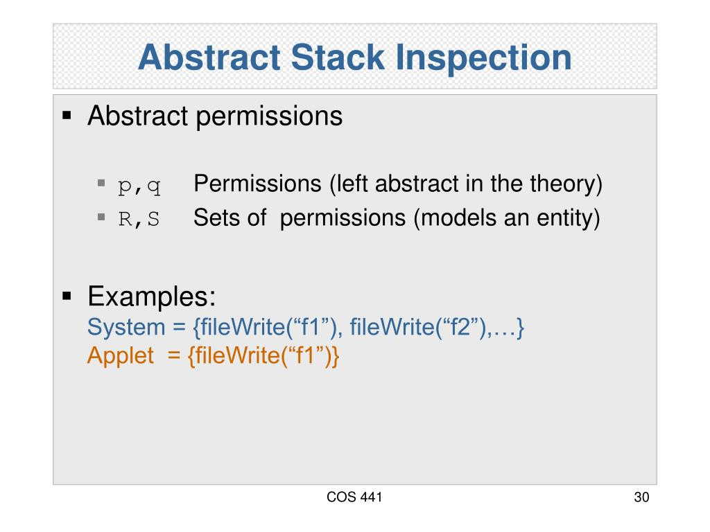 Abstract Stack Inspection
