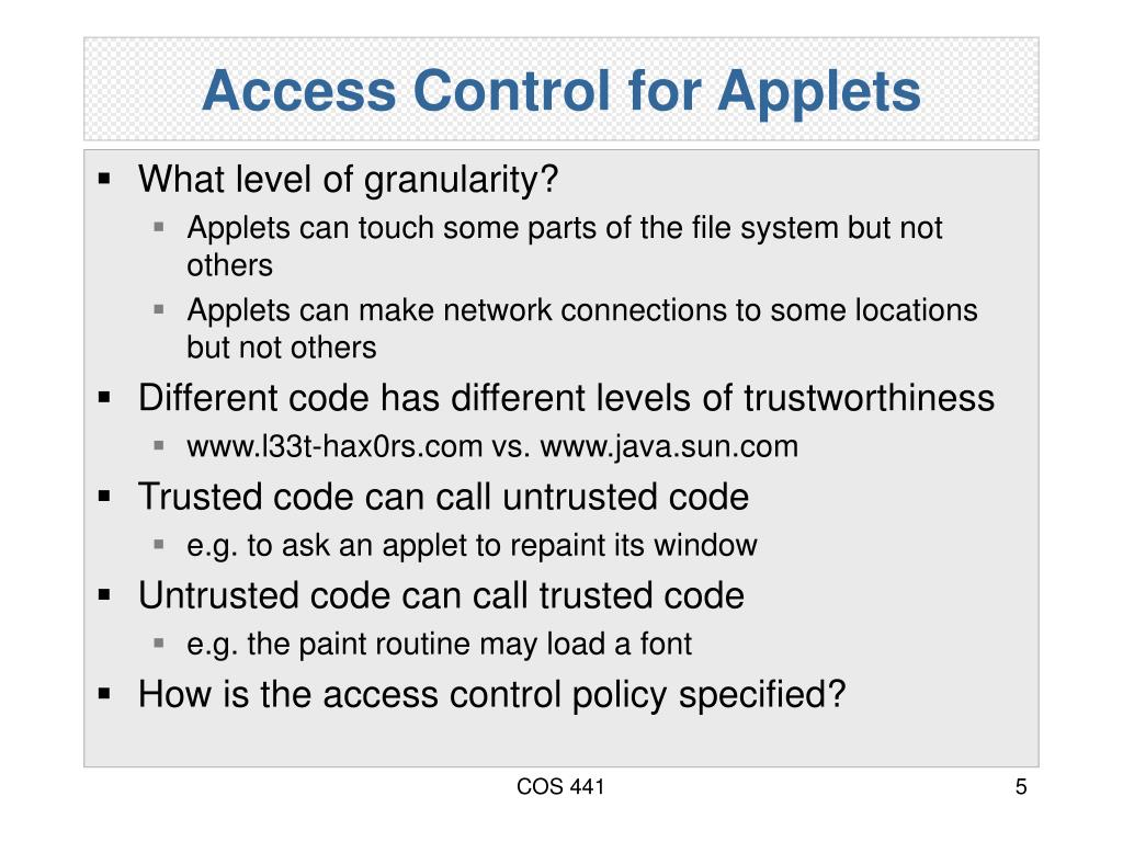 Access Control for Applets