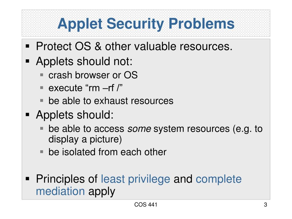 Applet Security Problems