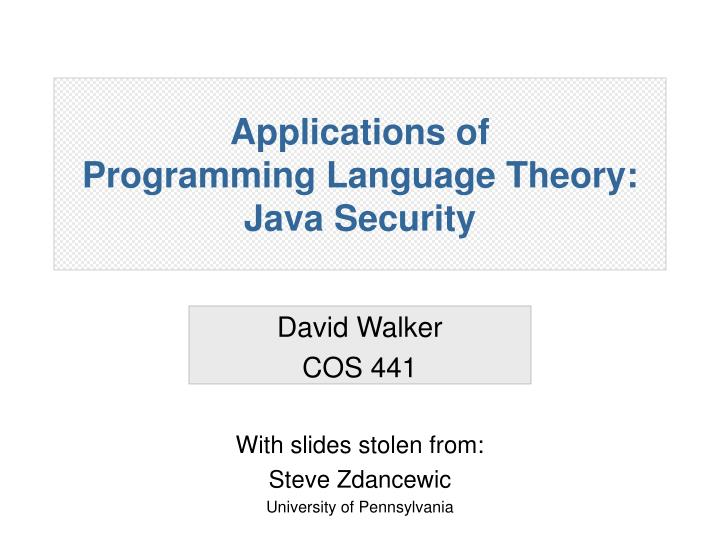 Applications of programming language theory java security