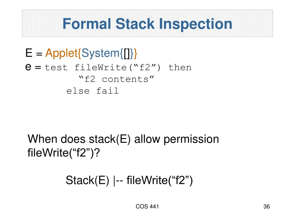 Formal Stack Inspection