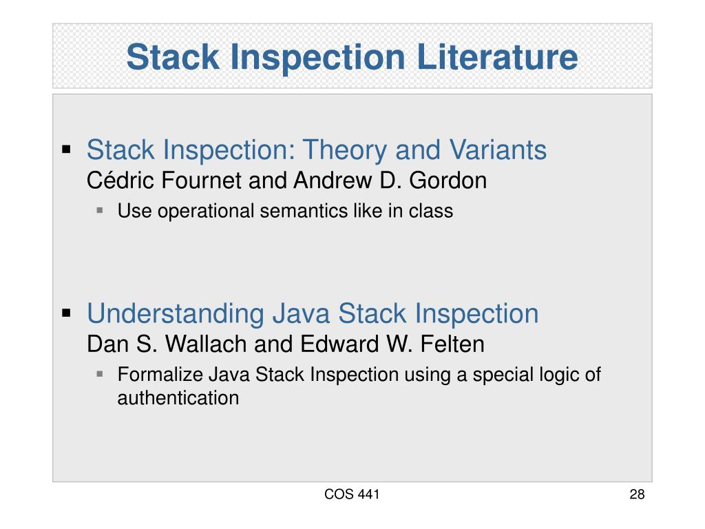 Stack Inspection Literature