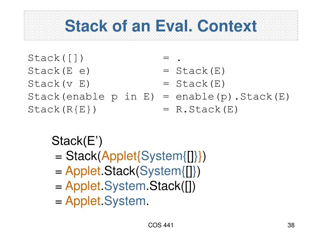Stack of an Eval. Context