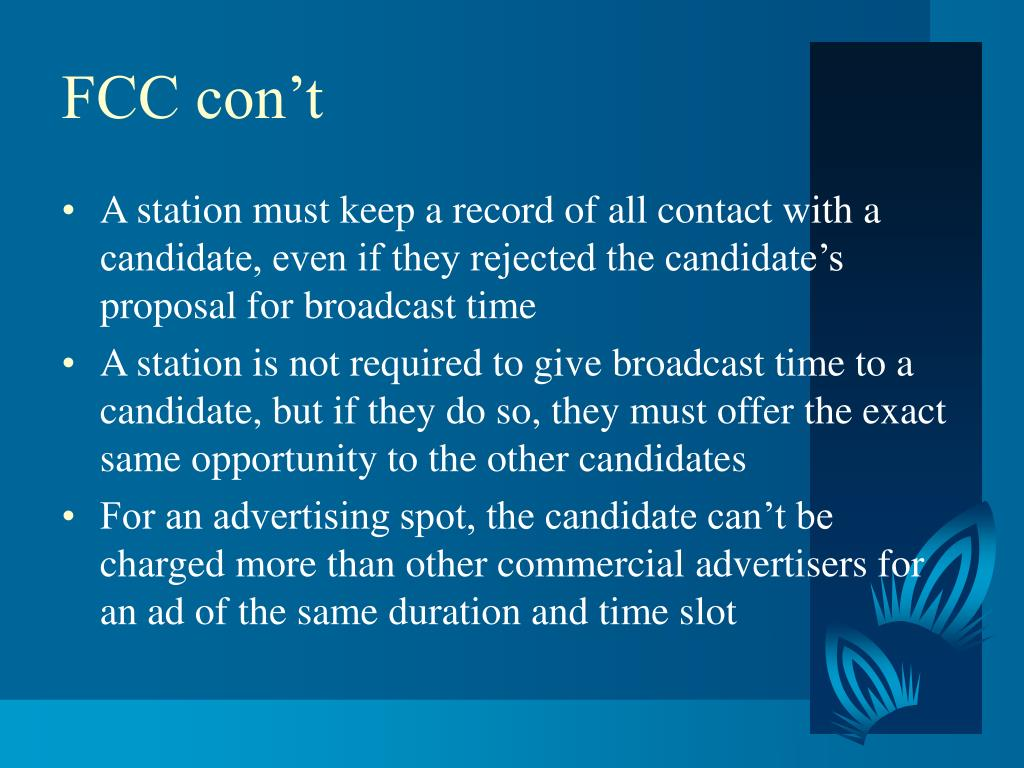 FCC con't