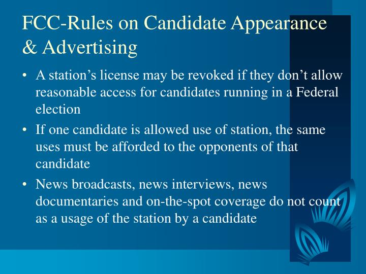 Fcc rules on candidate appearance advertising