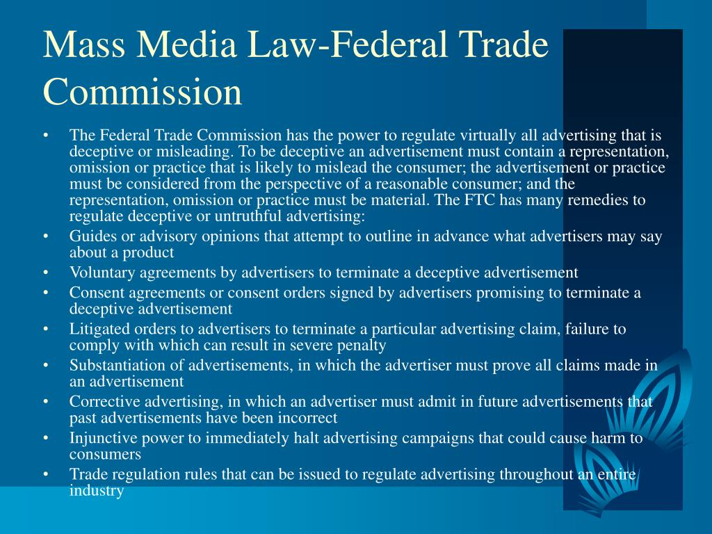 Mass Media Law-Federal Trade Commission