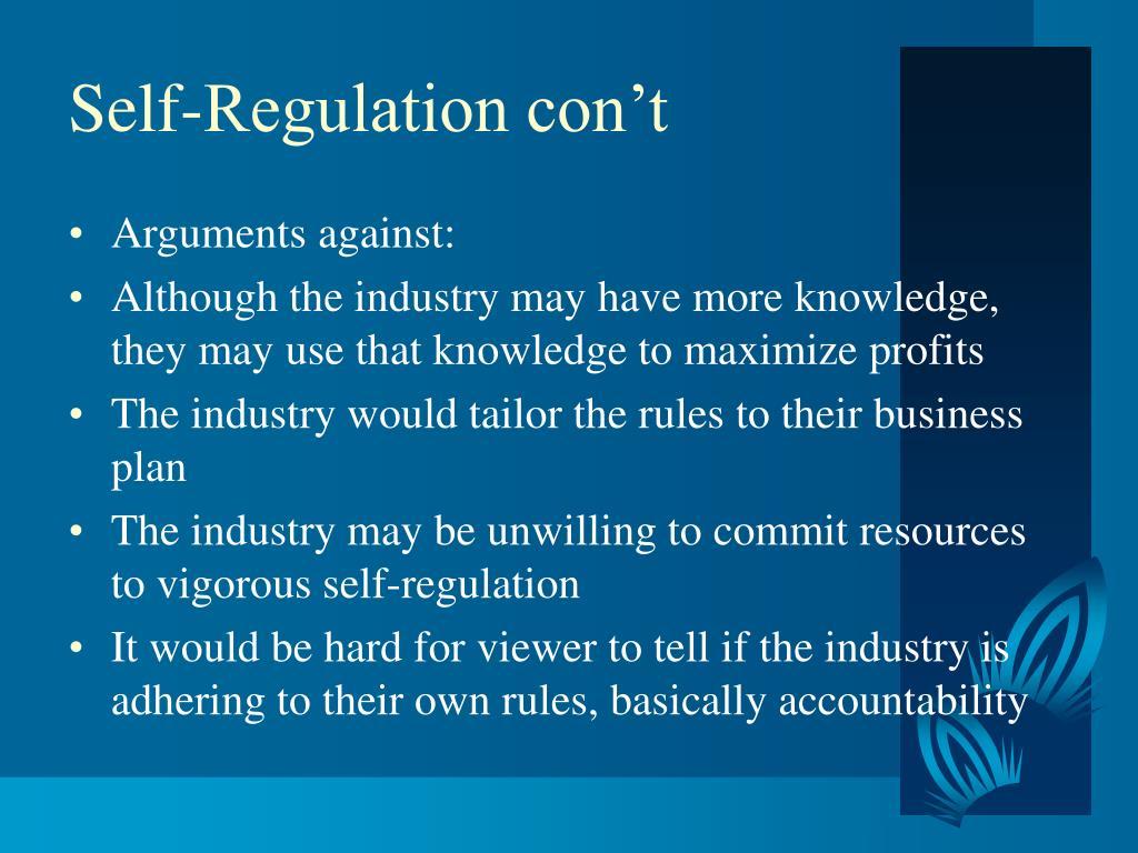 Self-Regulation con't