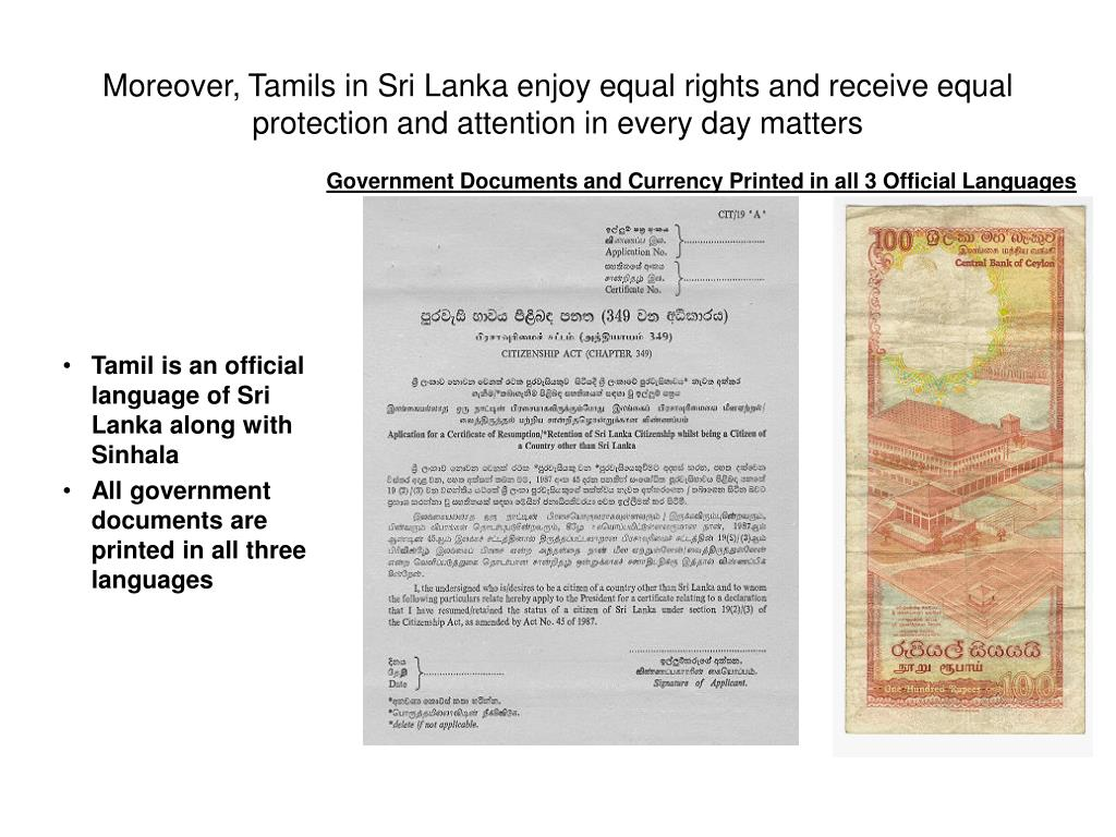Moreover, Tamils in Sri Lanka enjoy equal rights and receive equal protection and attention in every day matters