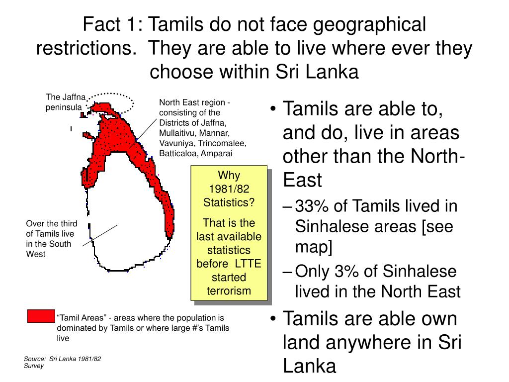 Tamils are able to, and do, live in areas other than the North-East