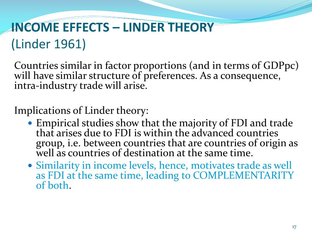 INCOME EFFECTS – LINDER THEORY