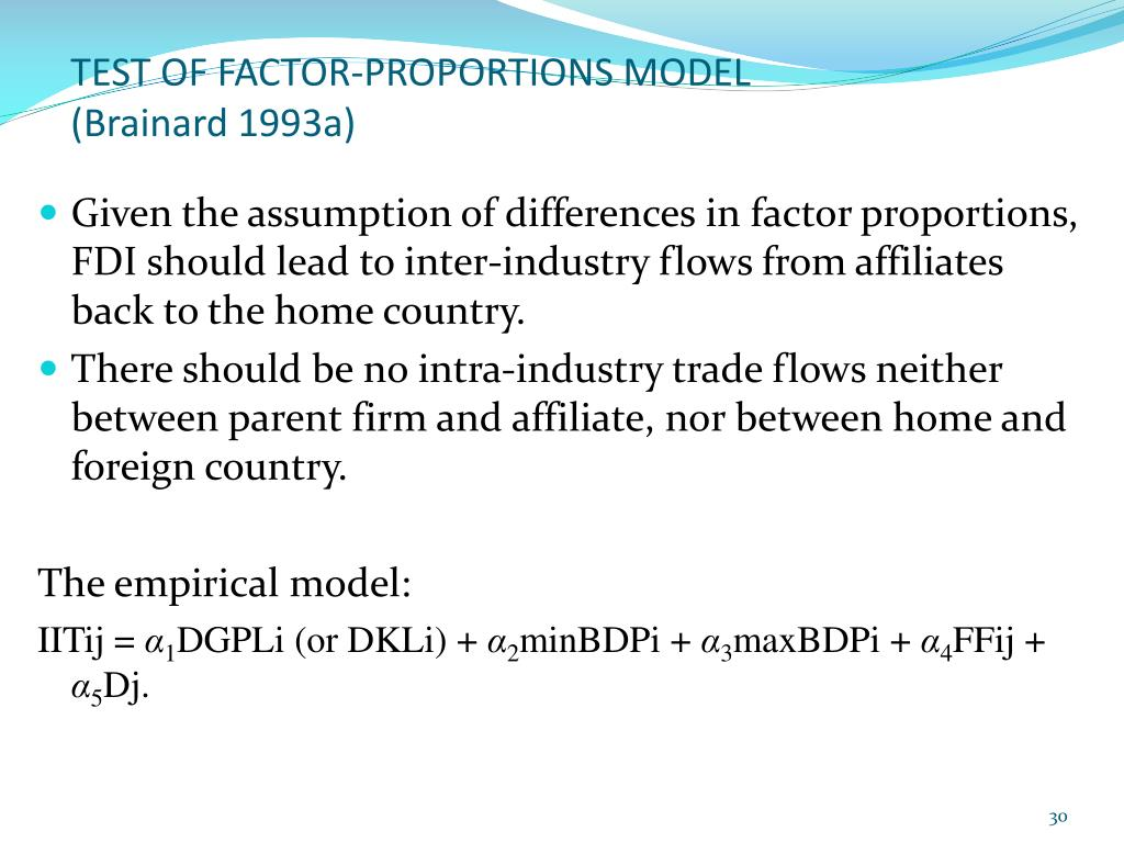 TEST OF FACTOR-PROPORTIONS MODEL