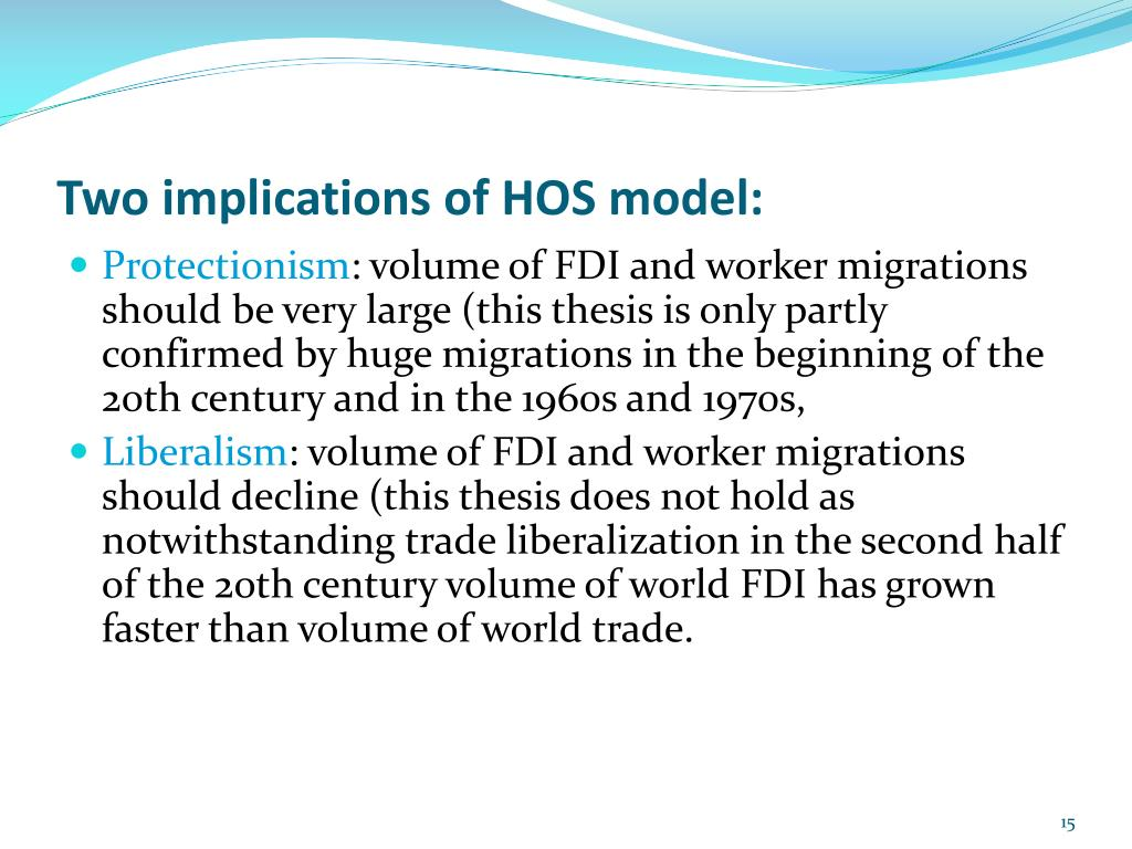 Two implications of HOS model: