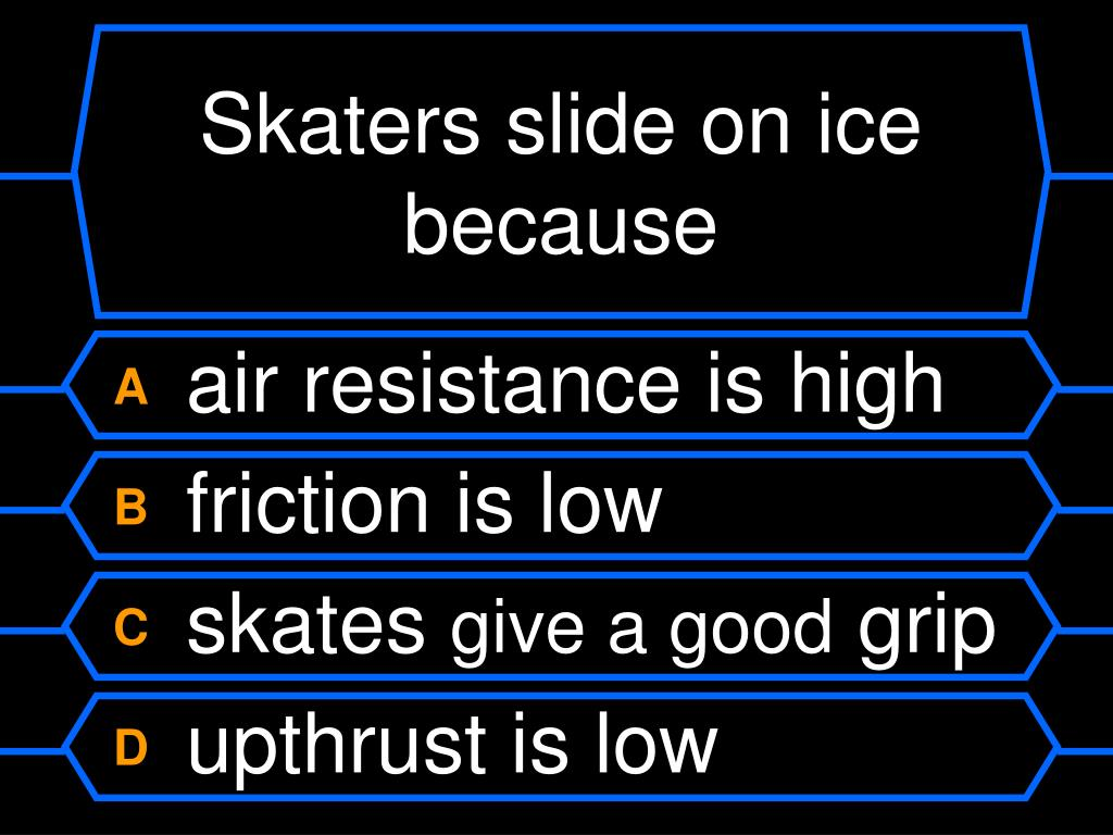 Skaters slide on ice because