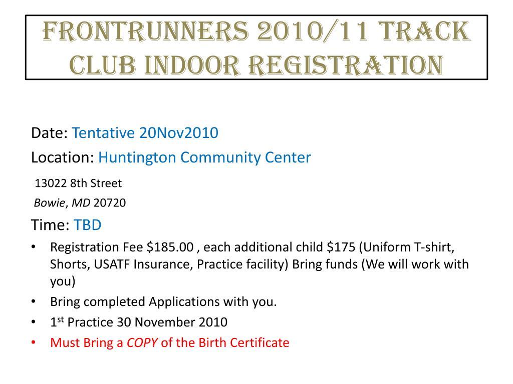 frontrunners 2010 11 track club indoor registration