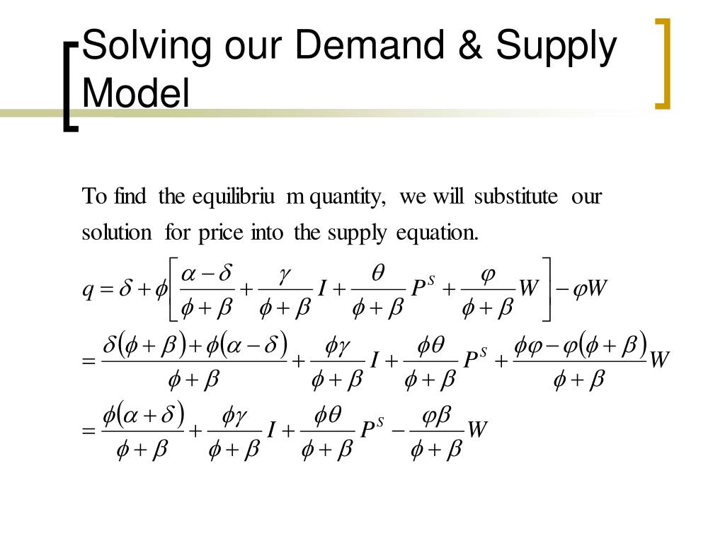 Solving our Demand & Supply Model