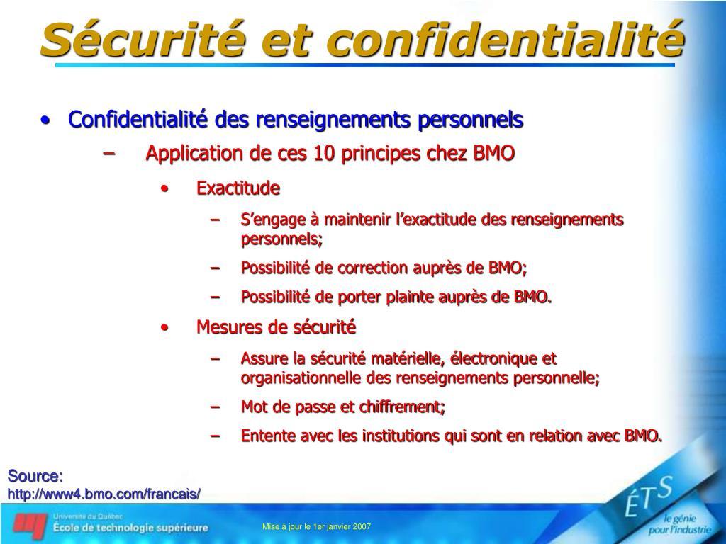 Sécurité et confidentialité