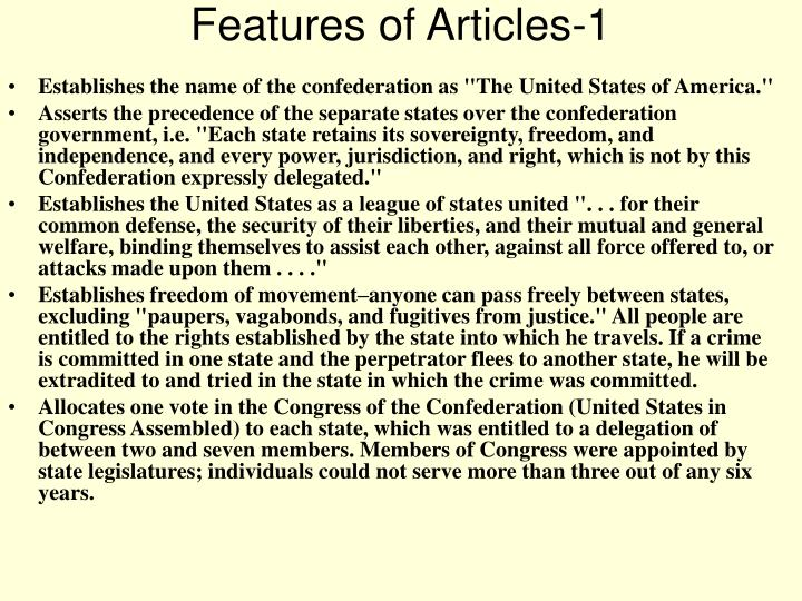 Features of articles 1
