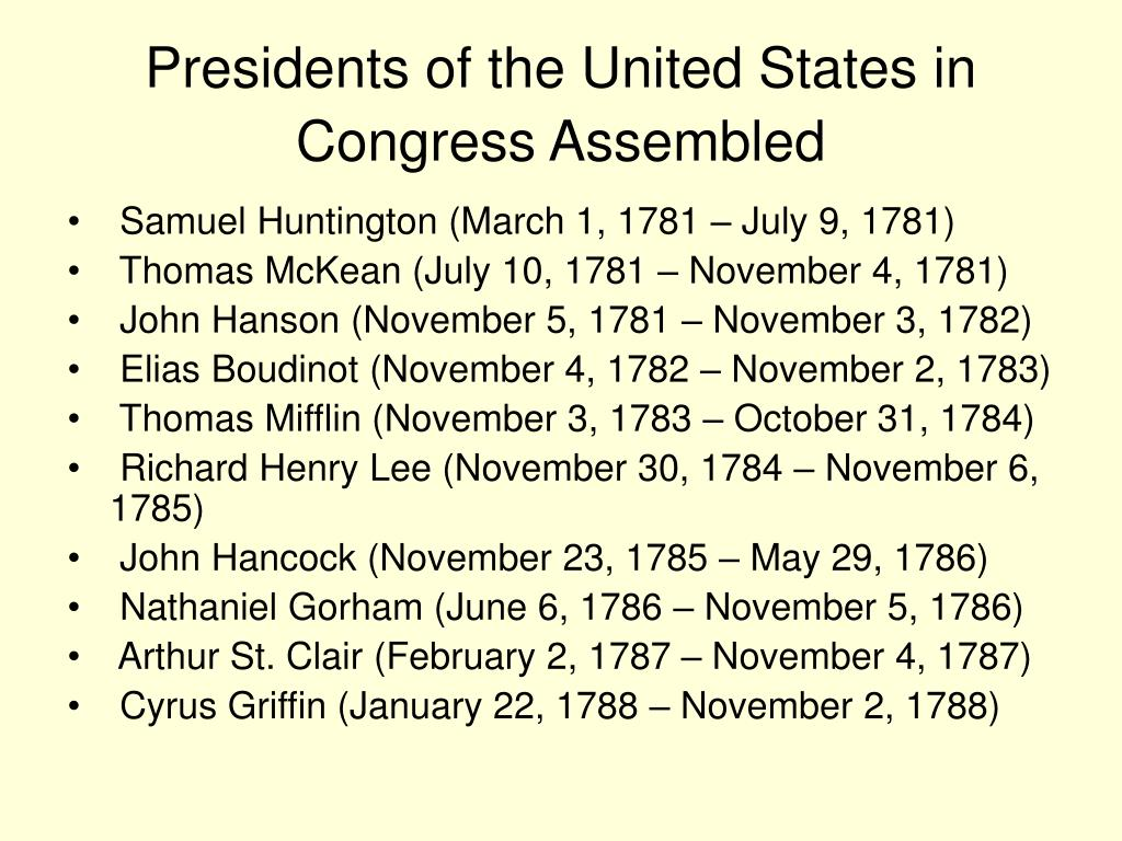 Presidents of the United States in Congress Assembled