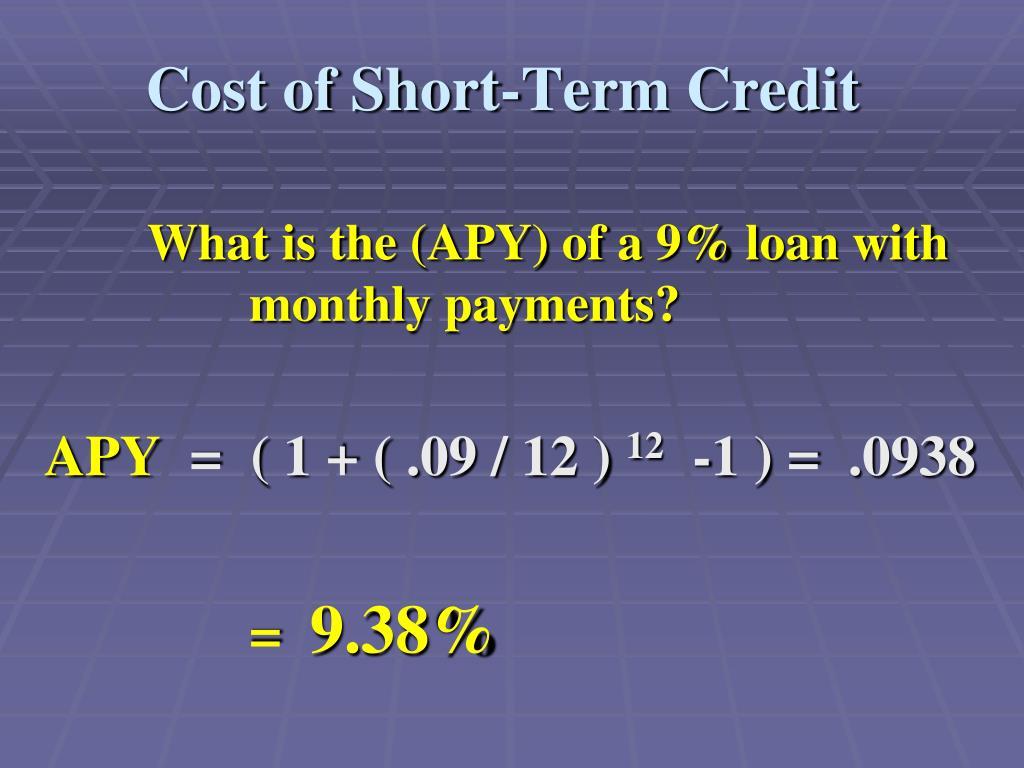 Cost of Short-Term Credit