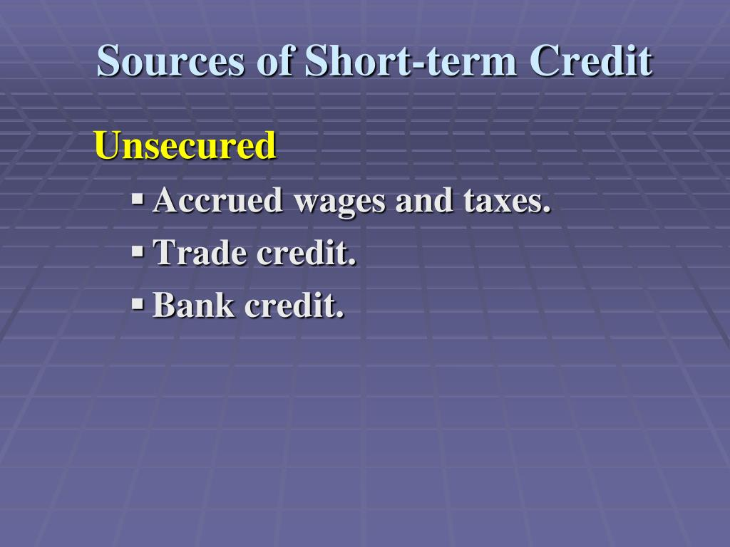 Sources of Short-term Credit