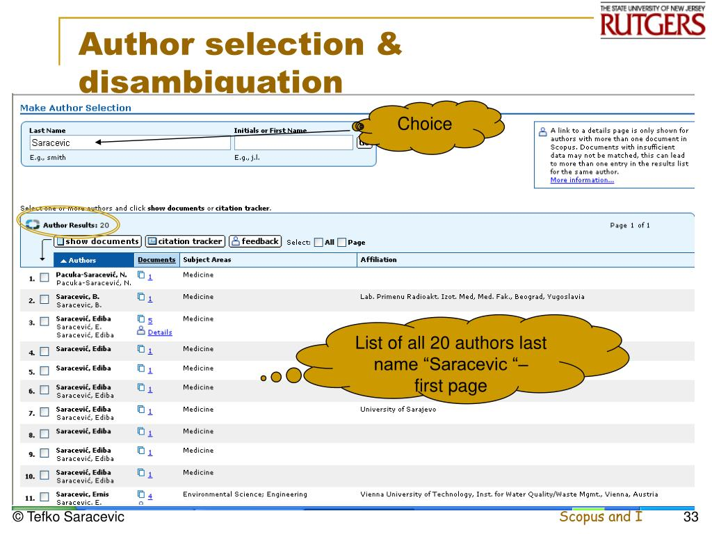 Author selection &
