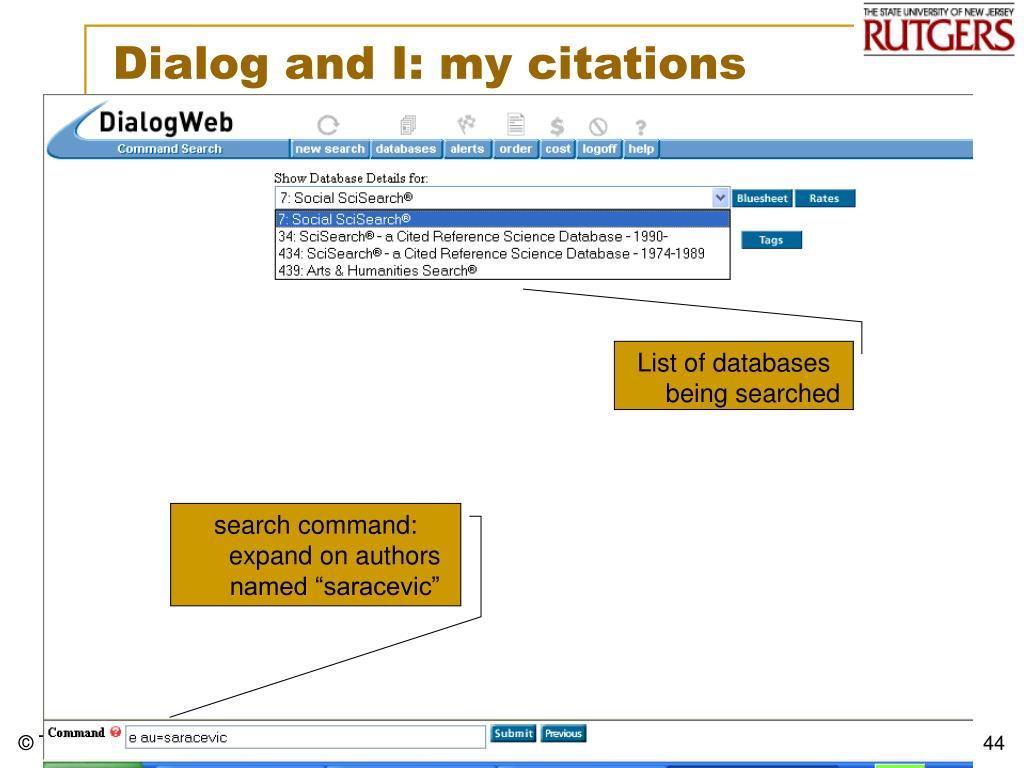 Dialog and I: my citations