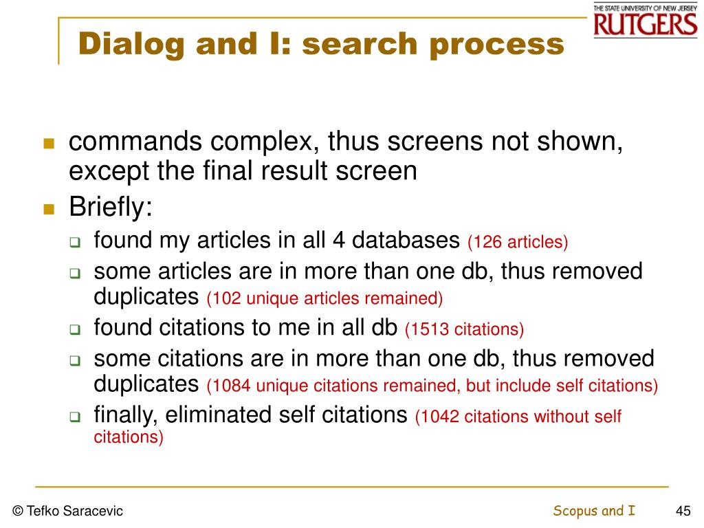 Dialog and I: search process