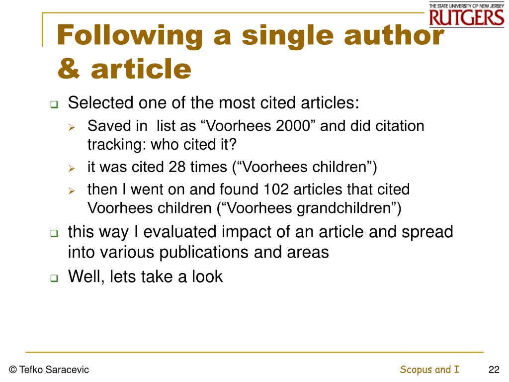 Following a single author & article