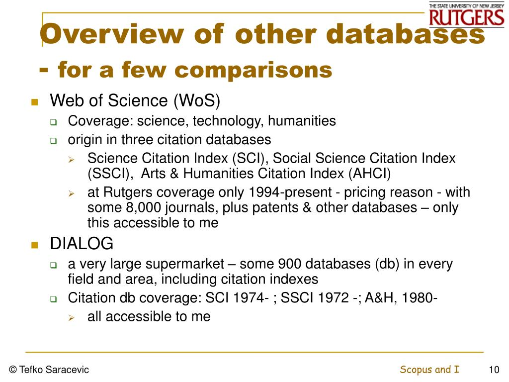 Overview of other databases