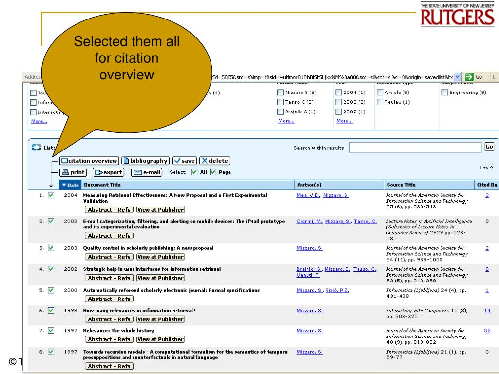 Selected them all for citation overview