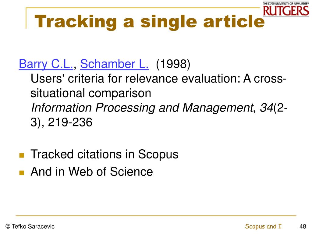 Tracking a single article