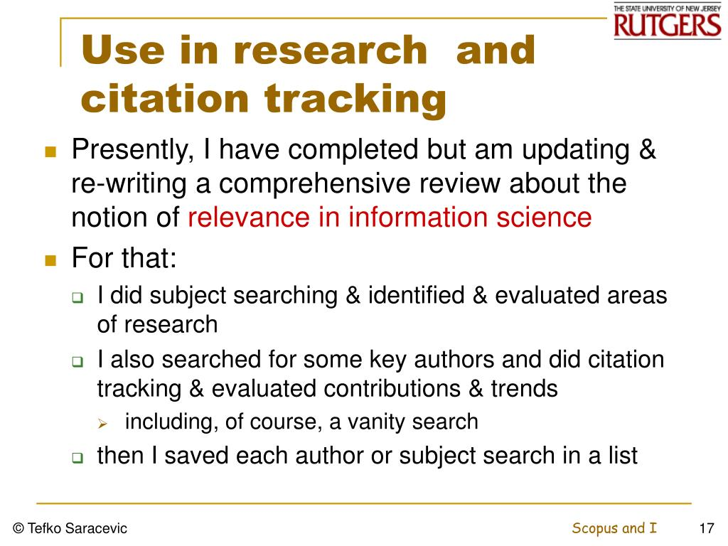 Use in research  and citation tracking