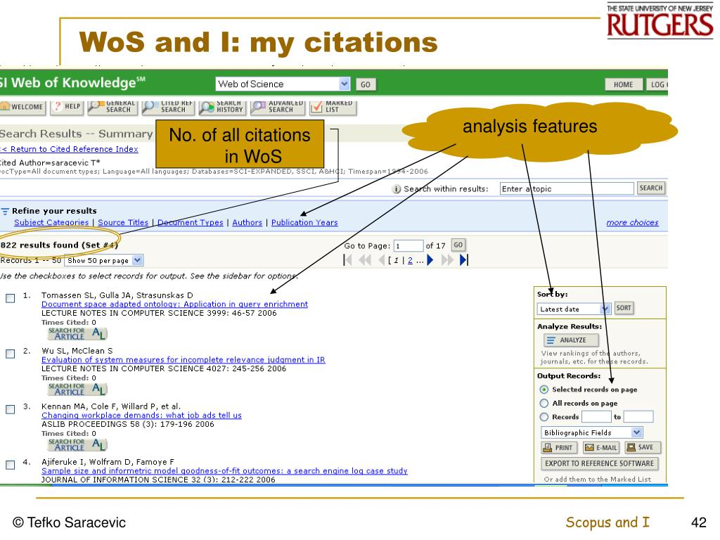 WoS and I: my citations