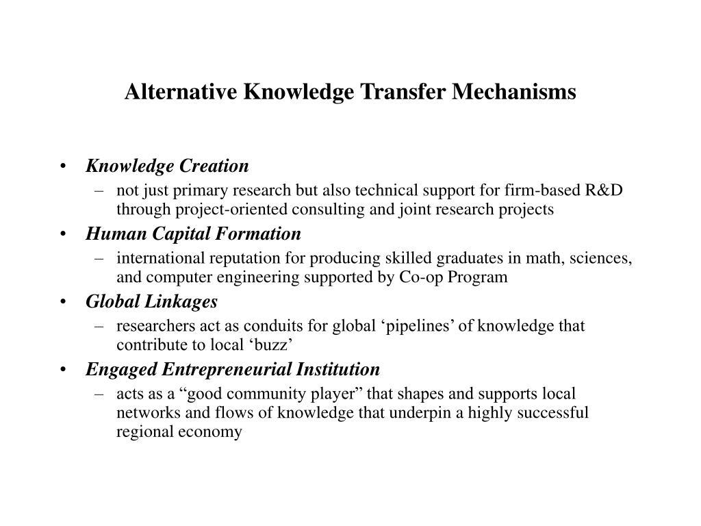 Alternative Knowledge Transfer Mechanisms