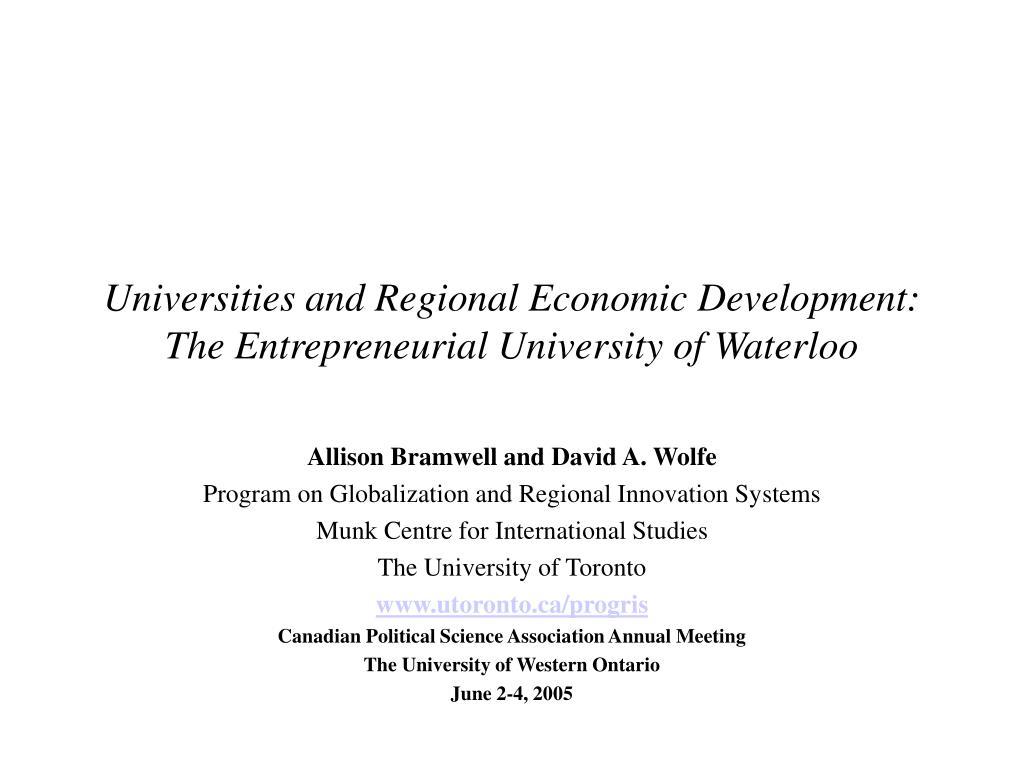 Universities and Regional Economic Development: