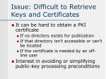 issue difficult to retrieve keys and certificates