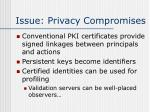 issue privacy compromises