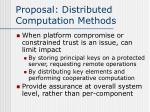 proposal distributed computation methods