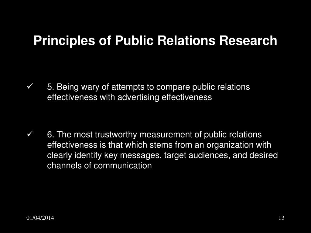 Principles of Public Relations Research