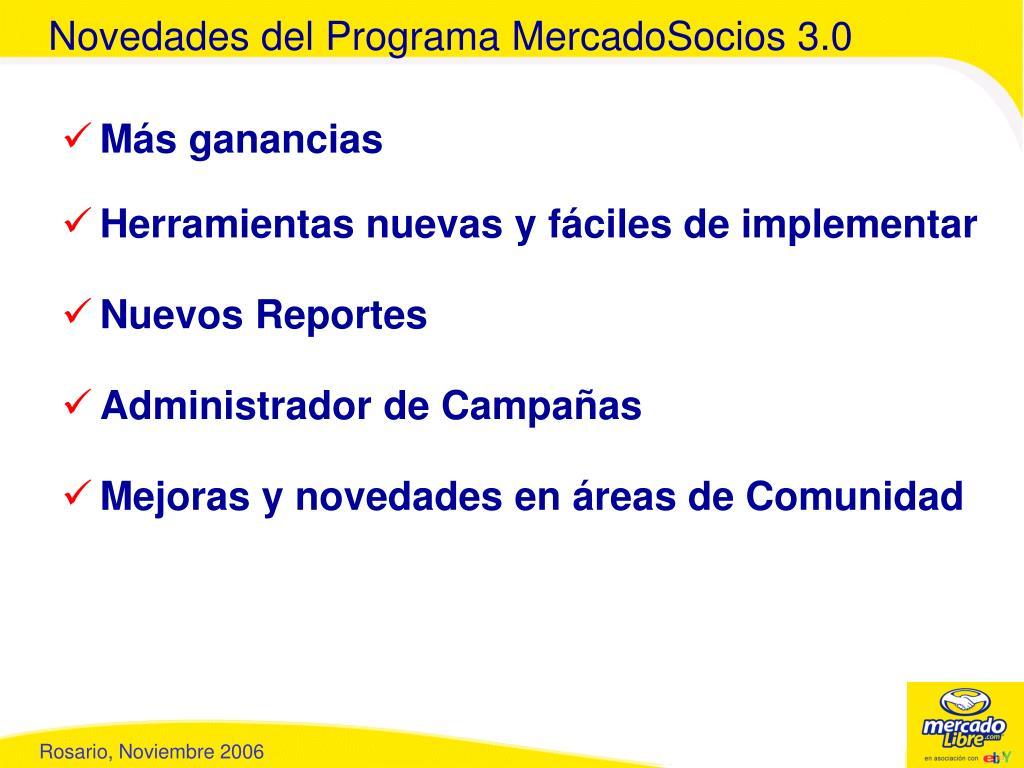 Novedades del Programa MercadoSocios 3.0