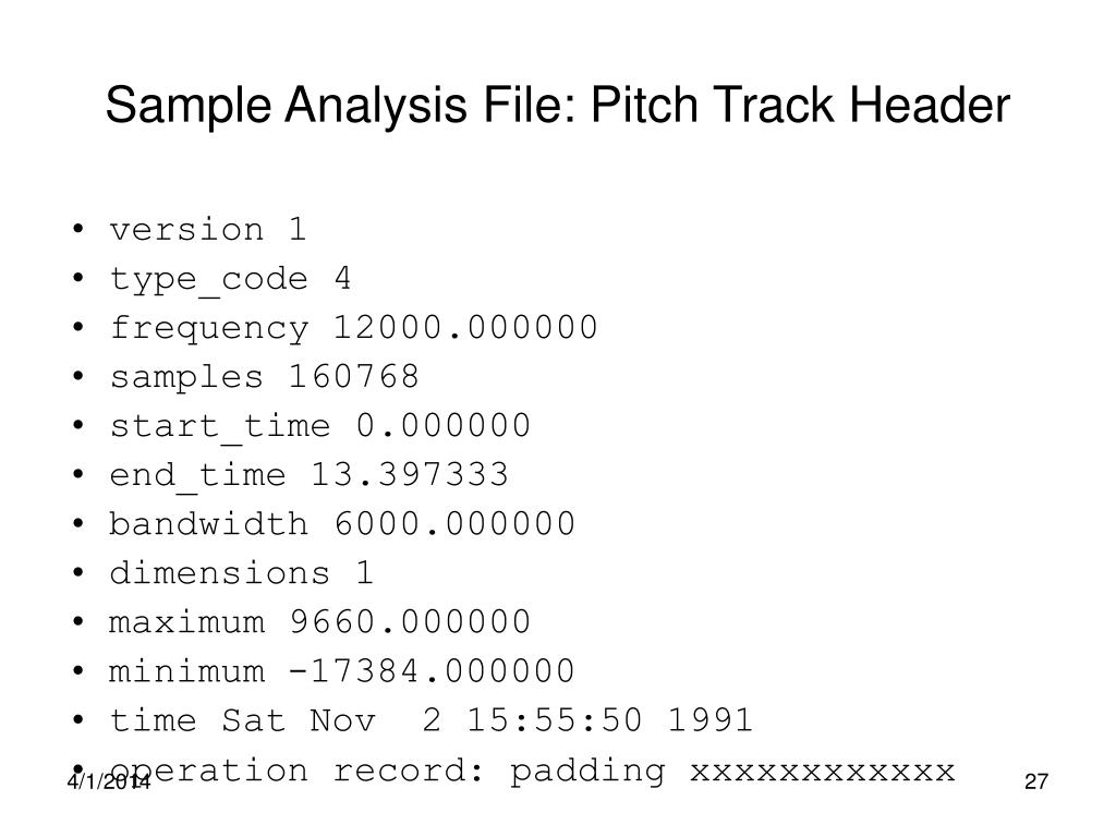 Sample Analysis File: Pitch Track Header