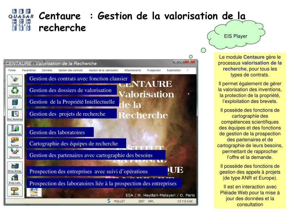 Centaure  : Gestion de la valorisation de la recherche