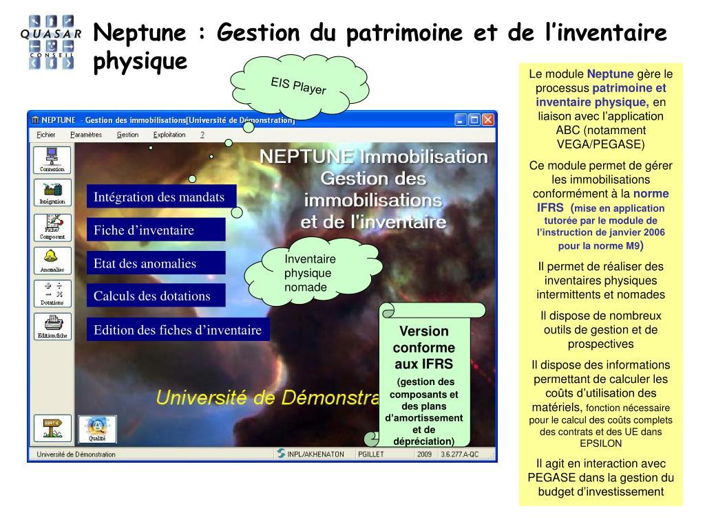 Neptune : Gestion du patrimoine et de l'inventaire  physique