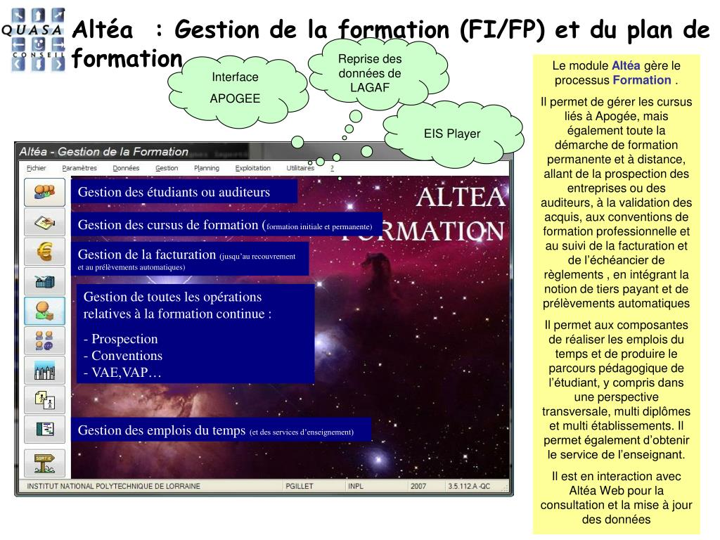Altéa  : Gestion de la formation (FI/FP) et du plan de formation